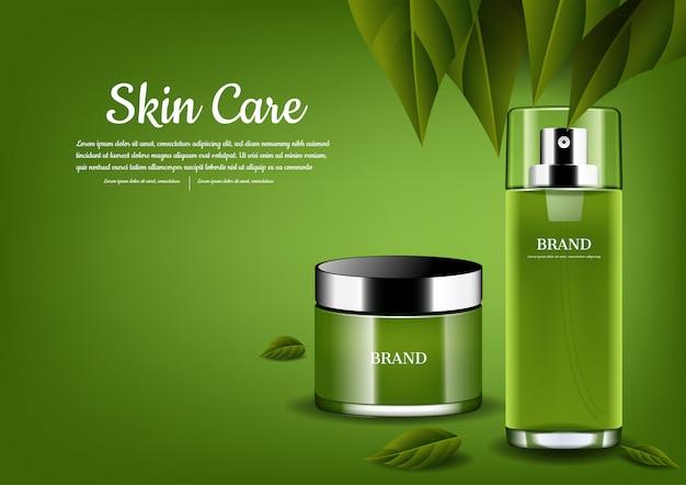 Set de cuidado de la piel con hojas verdes.