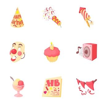 Set de cumpleaños, estilo de dibujos animados
