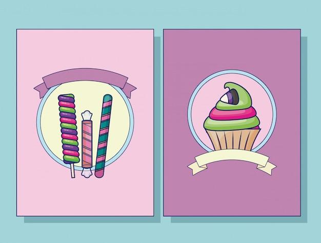 Set de cupcake y juego de cartas de caramelos.