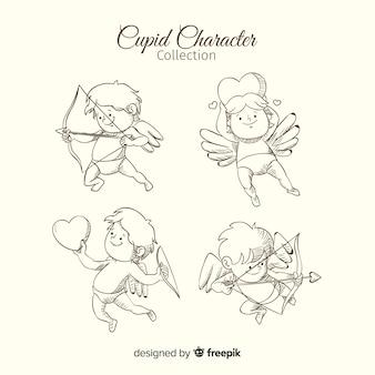 Set cupidos dibujados a mano