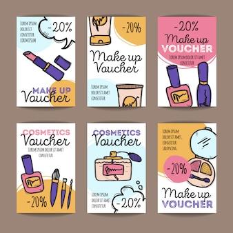 Set de cupones de descuento para productos de maquillaje.