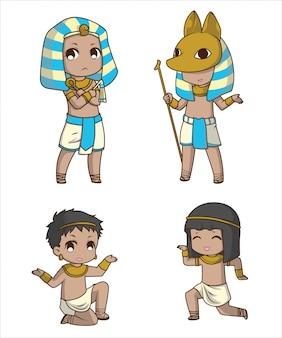 Set cute boy en traje egipcio., personaje de dibujos animados.
