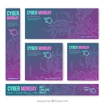 Set de banners abstractos de rebajas de lunes cibernético