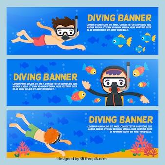 Set de banners con simpáticos submarinistas
