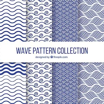 Set de cuatro patrones de olas en diseño plano
