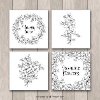 Set de cuatro tarjetas con jazmines dibujados a mano