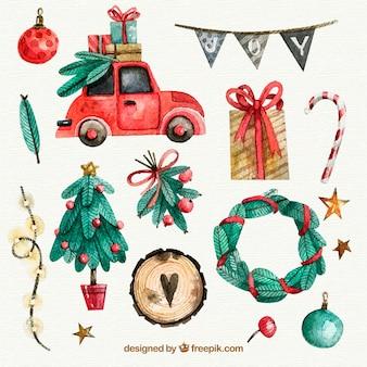 Set de elementos de acuarela de navidad