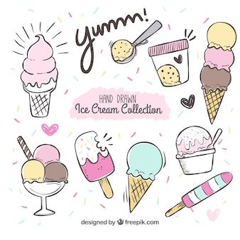 Set de helados dibujados a mano