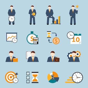 Set de iconos planos de gestión de tiempo