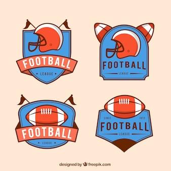 Set de insignias retro de fútbol americano