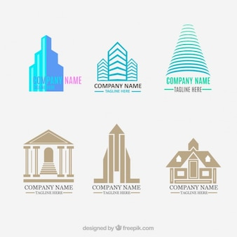 Set de logos de inmobiliaria planos y modernos