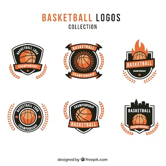 Set de logotipos vintage de baloncesto