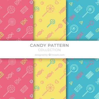 Set de patrones de colores con caramelos