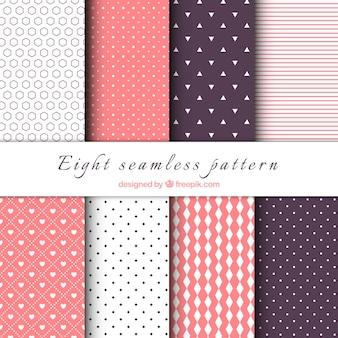Set de patrones decorativos con formas geométricas