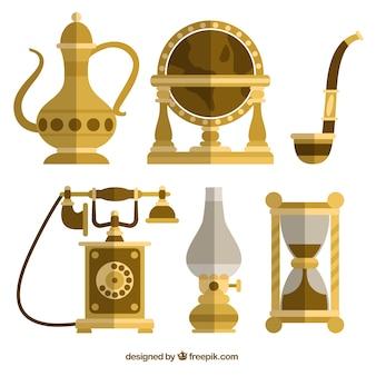 Set de decoración antigua en diseño plano
