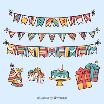 Set decoración fiesta dibujada a mano