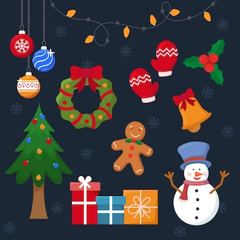 Set de decoración navideña de diseño plano