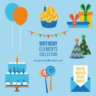 Set de decoración plana de cumpleaños