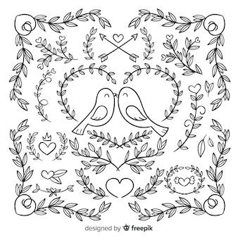 Set de decoraciones de boda dibujados