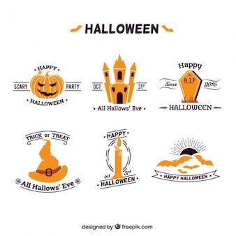Set de decorativas insignias de halloween