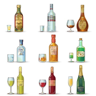 Set decorativo de botellas de alcohol