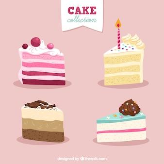 Set de deliciosas tartas en estilo hecho a mano
