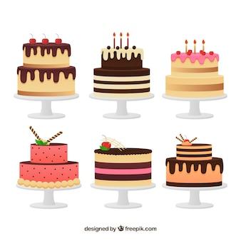 Set de deliciosas tartas en estilo plano