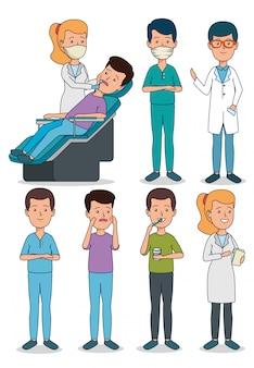Set dentista profesional con cuidado de pacientes y dientes