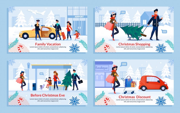 Set de diapositivas de compras navideñas
