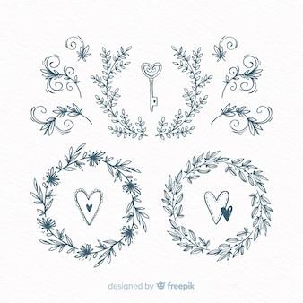 Set dibujado de decoraciones para bodas