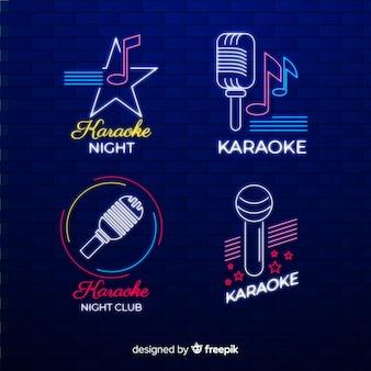 Set dibujado de luces de neón de local de karaoke