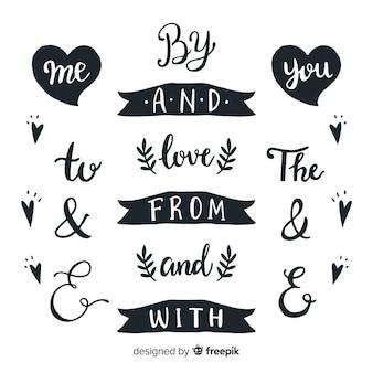 Set dibujado de palabras de boda