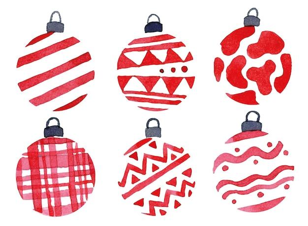 Set de dibujo de acuarela con bolas de juguetes de árbol de navidad bolas de color rojo con un adorno simple