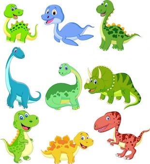 Set de dibujos animados de colección de dinosaurios.