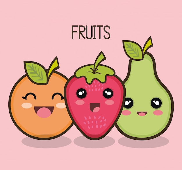 Set de dibujos animados de frutas de diseño