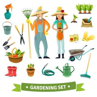 Set de dibujos animados de jardinería