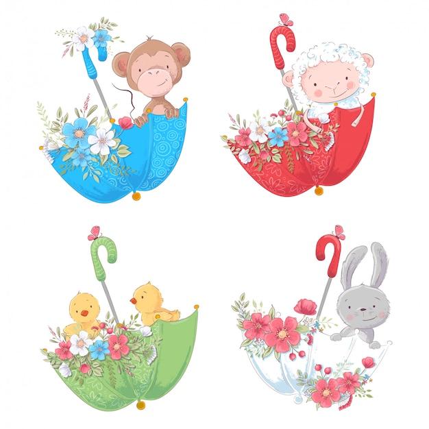 Set de dibujos animados lindo animales mono, pollos ovejas y conejito en umbelas con flores