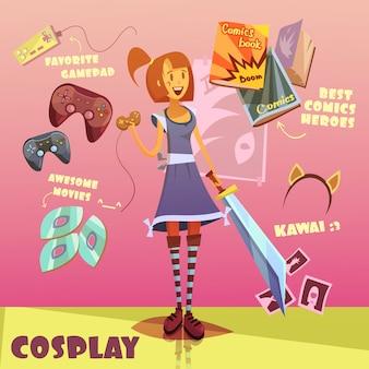 Set de dibujos animados de personajes de cosplay.