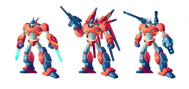 Set de dibujos animados de robots de batalla transformador