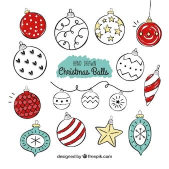 Set de dibujos de bolas navideñas vintage