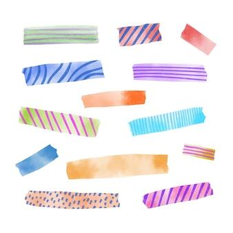 Set de diferentes cintas washi de acuarela.