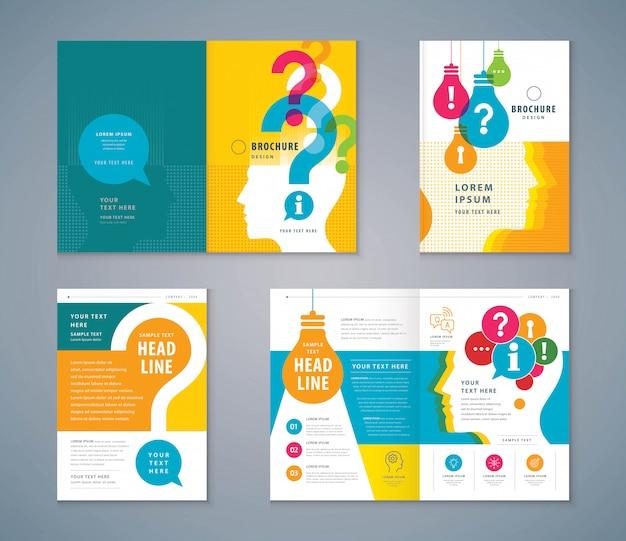 Set de diseño de libro de tapa, colorida cabeza humana con bombilla y fondo de signo de interrogación