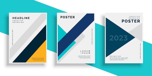 Set de diseños de flyer de cubierta de libro geométrico