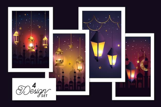Set de diseños de linternas colgantes y decoración de ramadan kareem