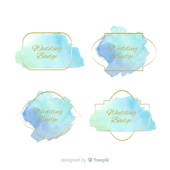 Set de distintivos para bodas de manchas en acuarela
