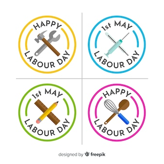 Set de distintivos del día del trabajador