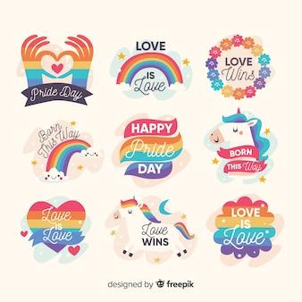 Set de distintivos dibujados del día del orgullo
