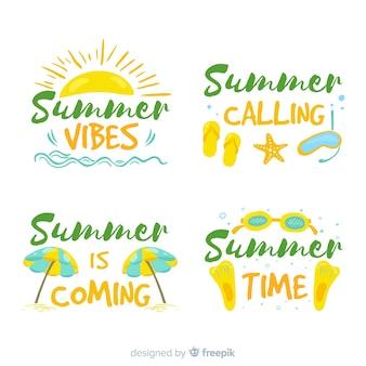 Set de distintivos dibujados de verano