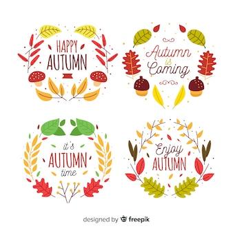 Set de distintivos otoñales dibujados