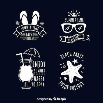 Set de distintivos veraniegos dibujados